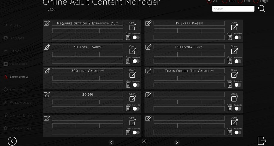 Online Adult Content Manager - Section Expansion 2 Link Extension