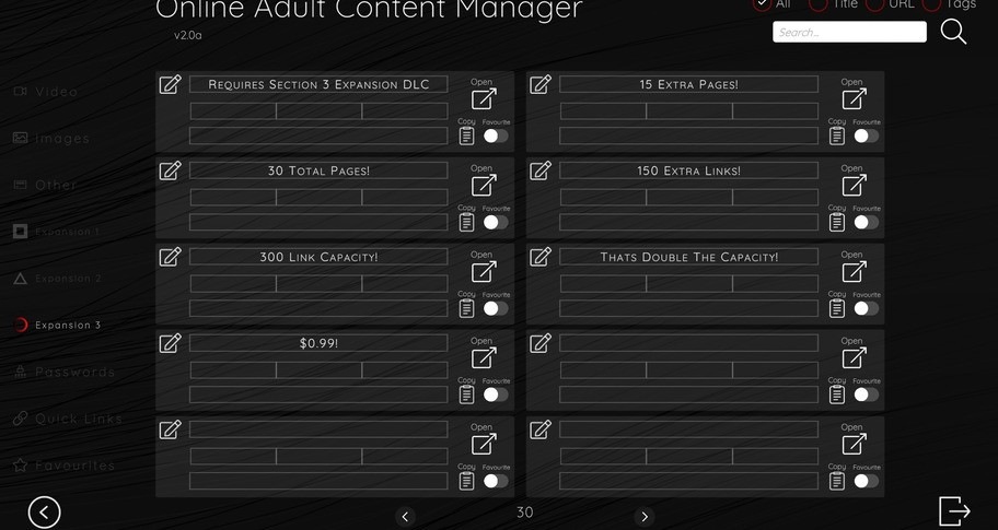 Online Adult Content Manager - Section Expansion 3 Link Extension