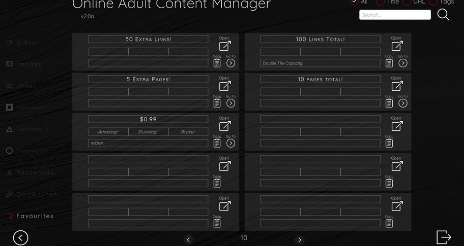 Online Adult Content Manager - Favourites Links Extension