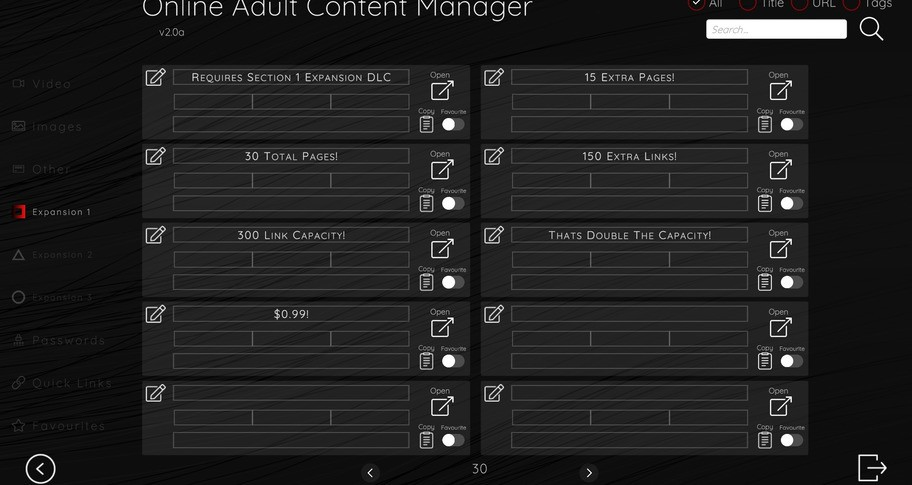 Online Adult Content Manager - Section Expansion 1 Link Extension