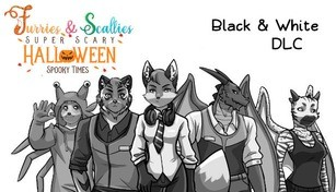 Furries & Scalies: Super Scary Halloween Spooky Times: Black & White