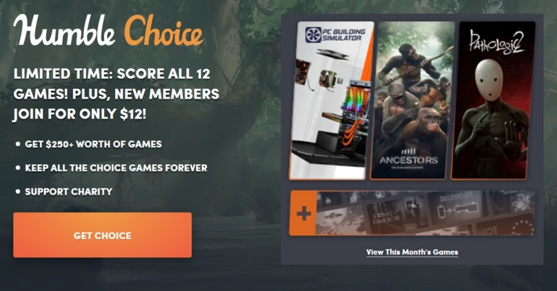 Humble Choice is only $12.00/month for new subscribers!