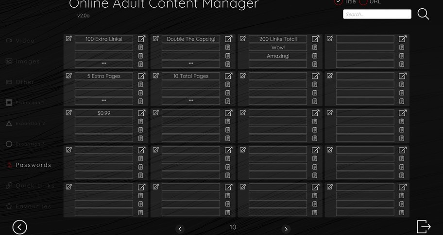 Online Adult Content Manager - Passwords Links Extension